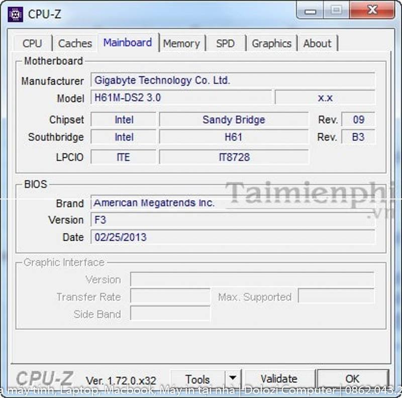 Kiểm tra Mainboard bằng CPU-Z