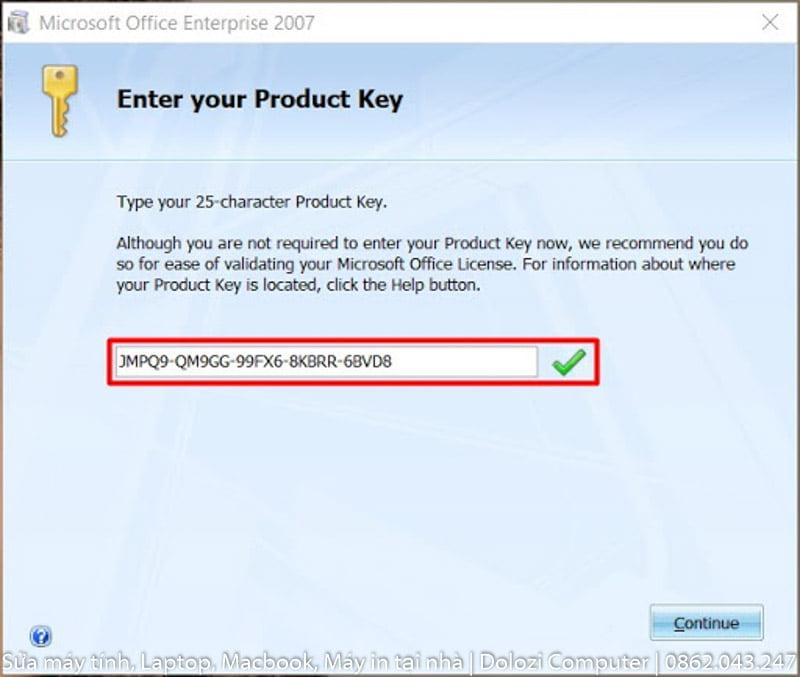 nhập key để tiến hành cài đặt