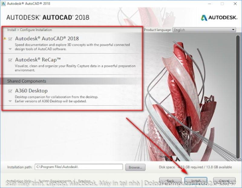chọn install để cài đặt autocad 2018