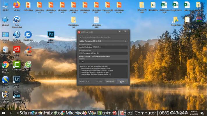 Chọn Adobe Photoshop CC 2015.5 sau đó chọn Install