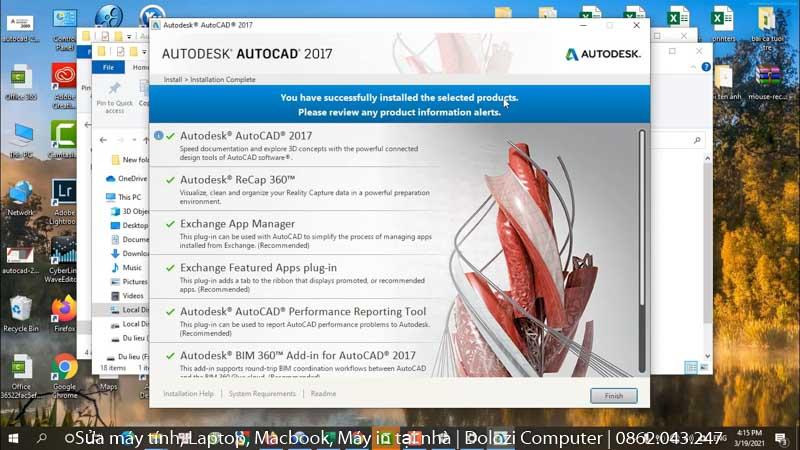Hoàn thành cài đặt Autocad 2017 Full Crack