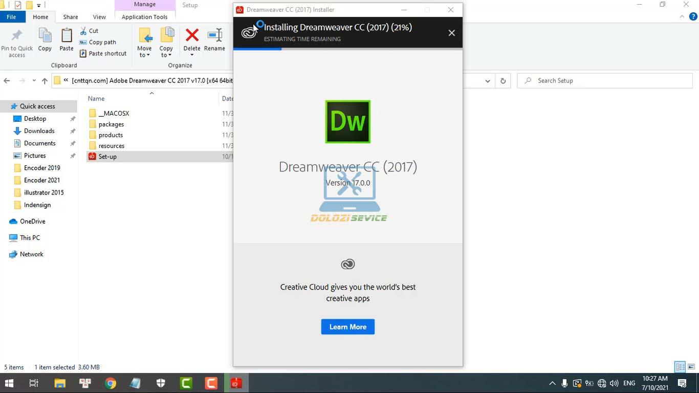 Đợi phần mềm Dreamweaver 2017 Full Crack cài đặt hoàn tất