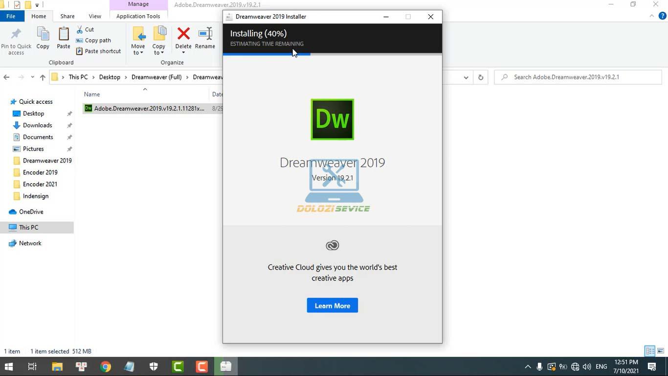 Đợi phần mềm Dreamweaver 2019 Full Crack cài đặt hoàn tất