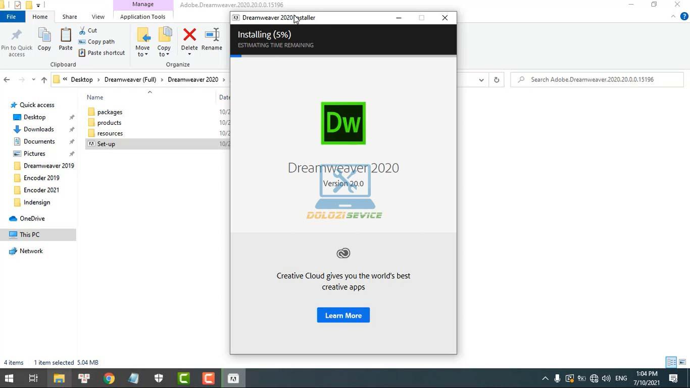Đợi phần mềm Dreamweaver 2020 Full Crack cài đặt hoàn tất