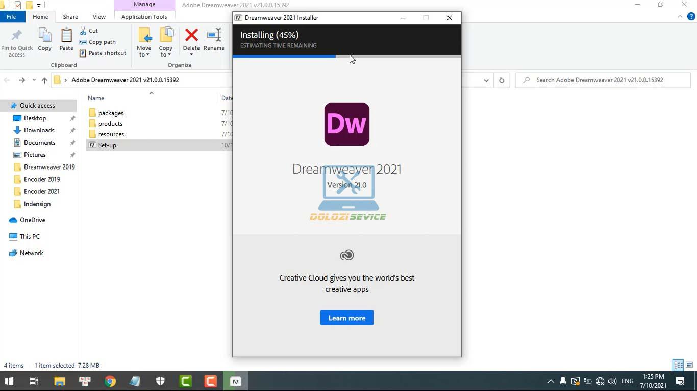 Đợi phần mềm Dreamweaver 2021 Full Crack cài đặt hoàn tất