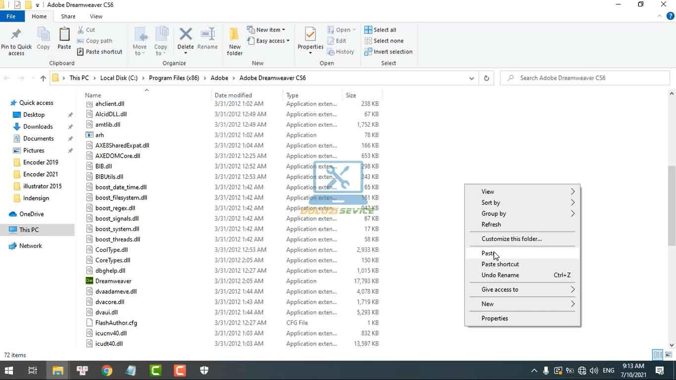 Dán vào thư mục cài đặt phần mềm Dreamweaver CS6