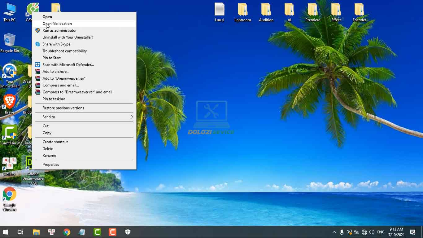 Mở thư mục cài đặt phần mềm Dreamweaver CS6