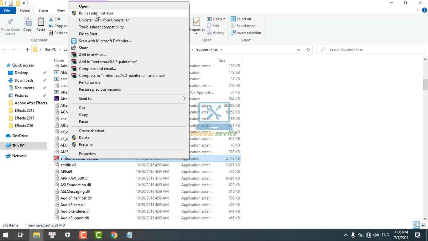 Chạy phần mềm kích hoạt với quyền Admin