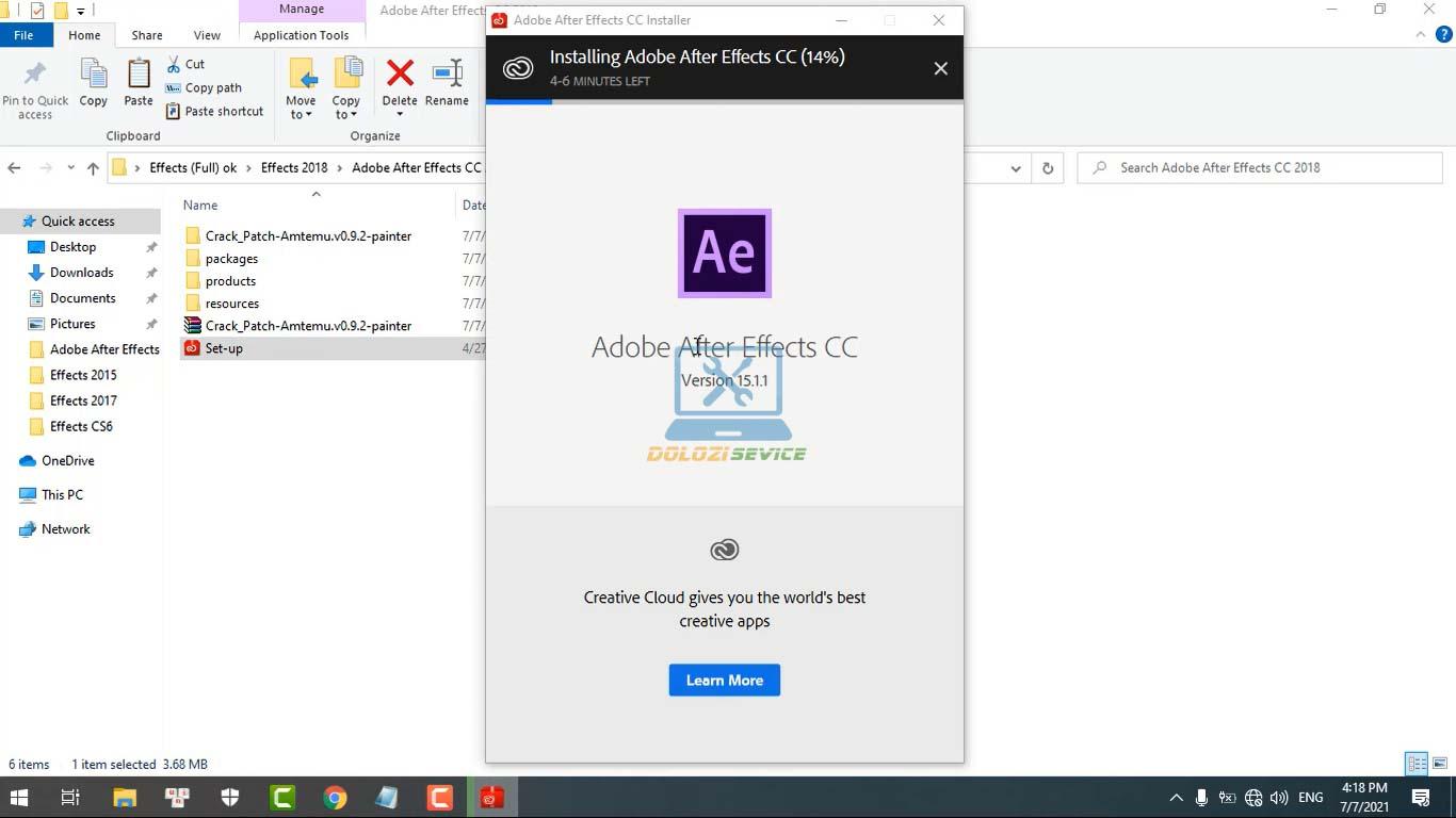 Đợi phần mềm After Effects 2018 Full Crack cài đặt hoàn tất