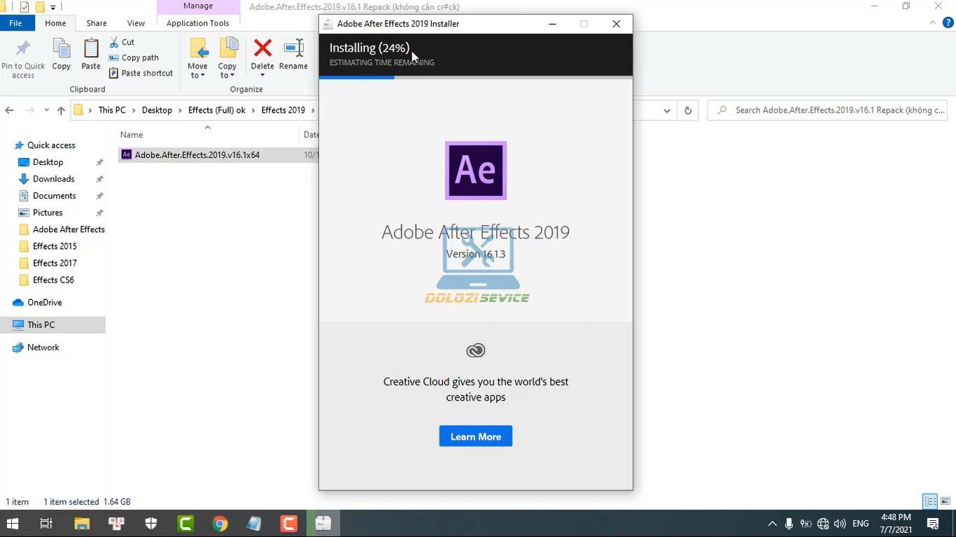 Đợi phần mềm After Effects 2019 Full Crack cài đặt hoàn tất