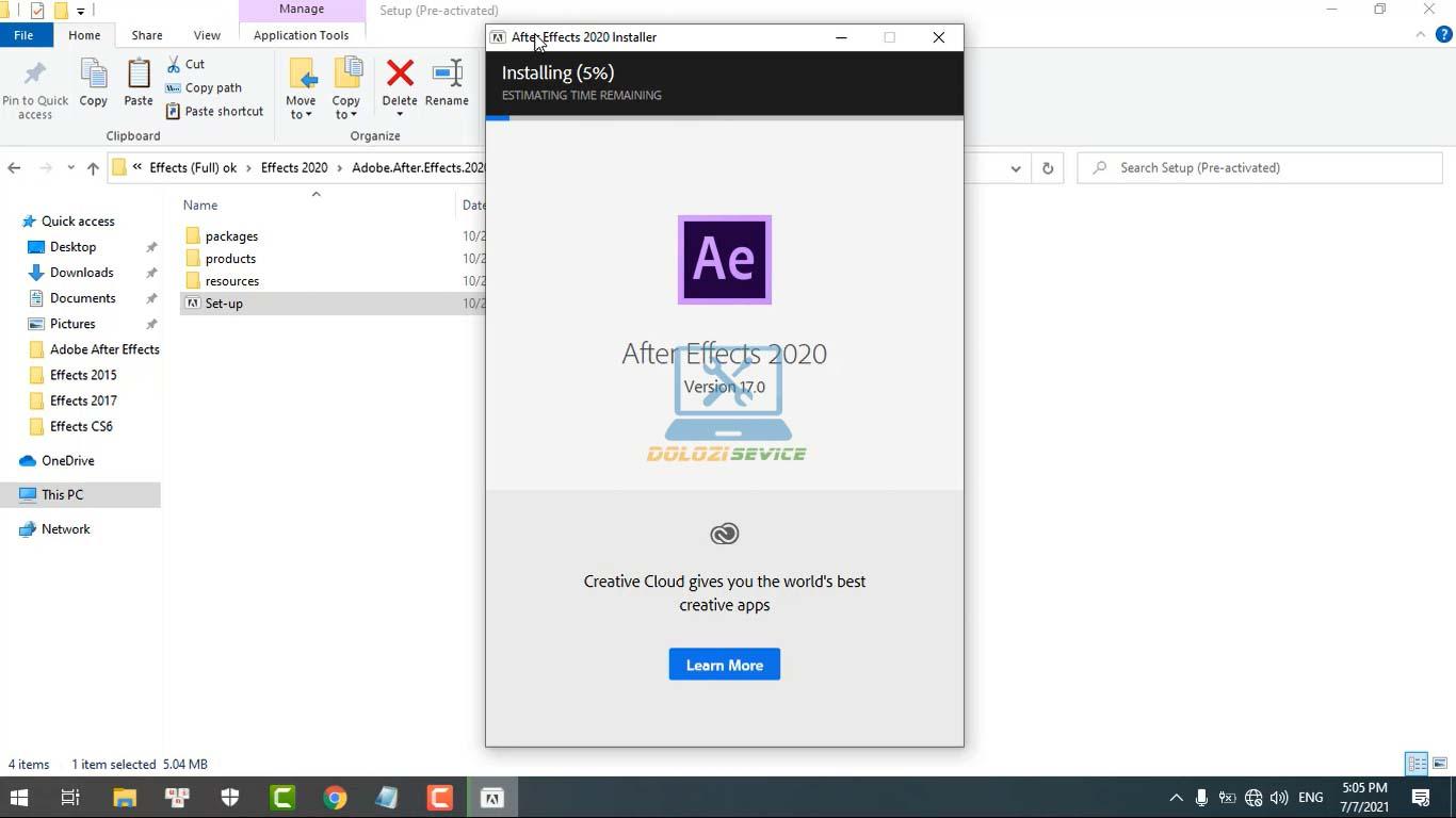 Đợi phần mềm After Effects 2020 Full Crack cài đặt hoàn tất