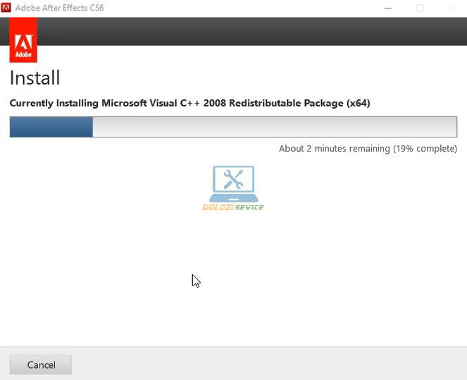 Đợi phần mềm After Effects CS6 Full Crack cài đặt hoàn tất