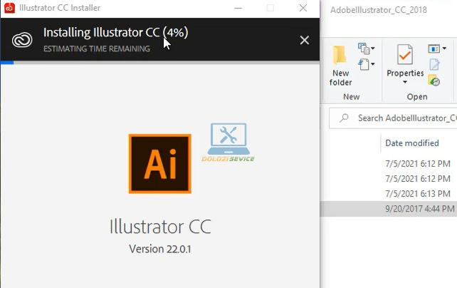 Đợi phần mềm Illustrator 2018 Full Crack cài đặt hoàn tất