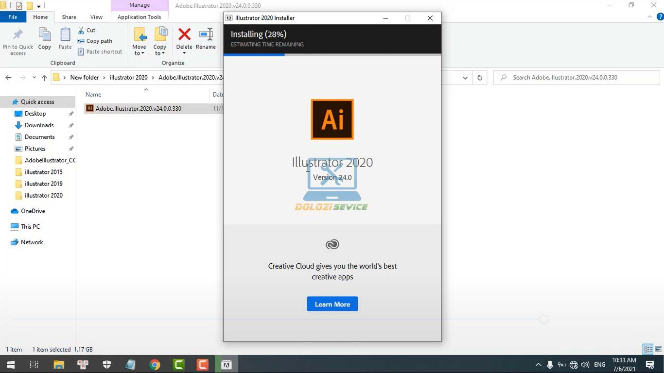 Đợi phần mềm Illustrator 2020 Full Crack cài đặt hoàn tất