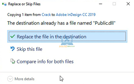 Chọn Replace the file in the destination