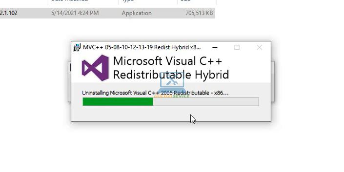 Visual C++ đang được cài đặt