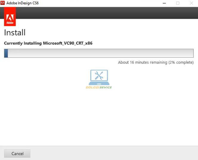 Đợi phần mềm InDesign CS6 Full Crack cài đặt hoàn tất