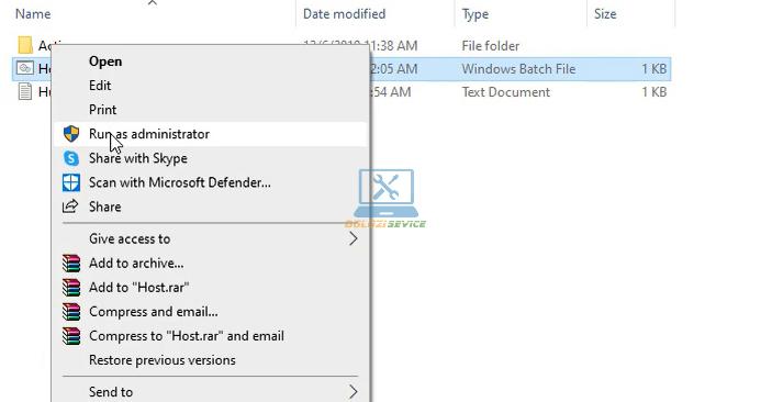 Kích hoạt File Host với quyền Admin