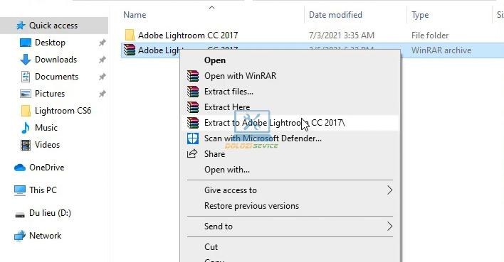 Giải nén phần mềm Lightroom 2017 Full Crack