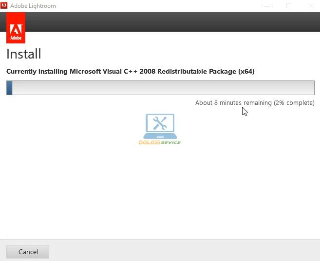 Đợi phần mềm Lightroom CS6 Full Crack cài đặt hoàn tất