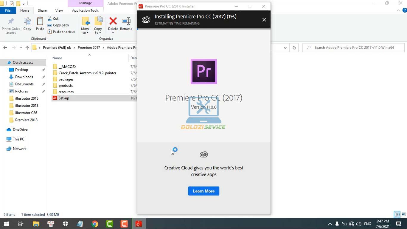 Đợi phần mềm Premiere 2017 Full Crack cài đặt hoàn tất