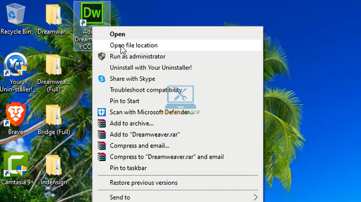 Truy cập vào thư mục cài đặt Dreamweaver 2015