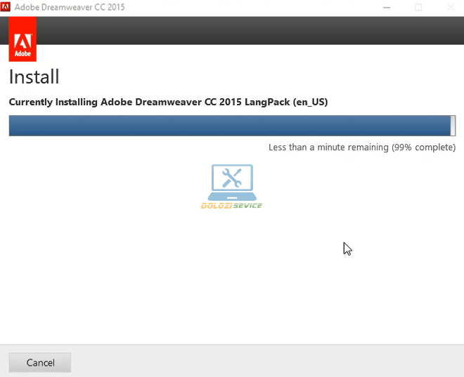Đợi phần mềm Dreamweaver 2015 Full Crack hoàn tất