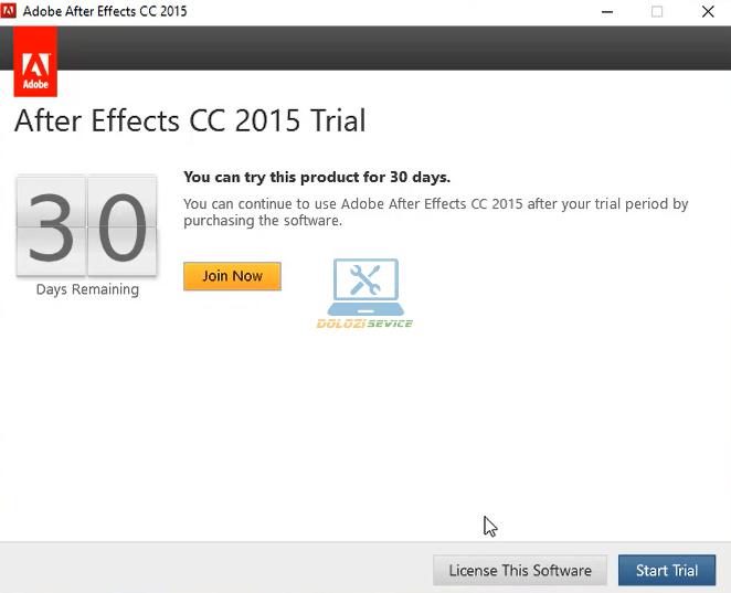 Chọn Start Trial để chạy phần mềm Effects 2015 Full Crack