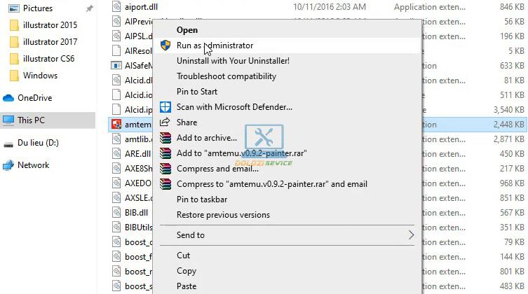 Chạy File kích hoạt với quyền Admin