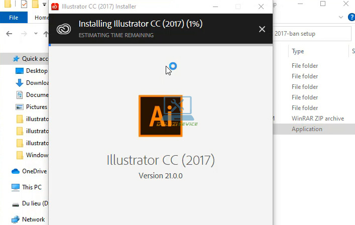 Đợi phần mềm Illustrator 2017 Full Crack cài đặt hoàn tất