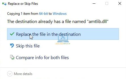 Chọn Replace the file a the destination