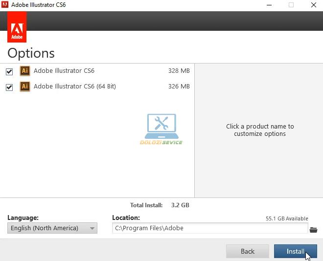 Chọn Install để cài đặt Illustrator CS6 Full Crack