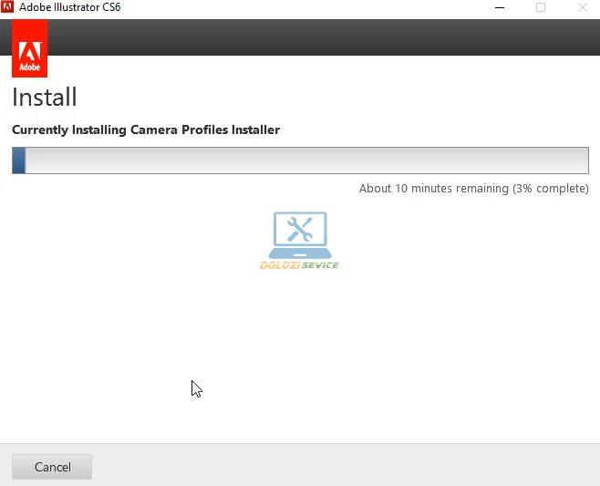 Đợi phần mềm Illustrator CS6 Full Crack cài đặt hoàn tất
