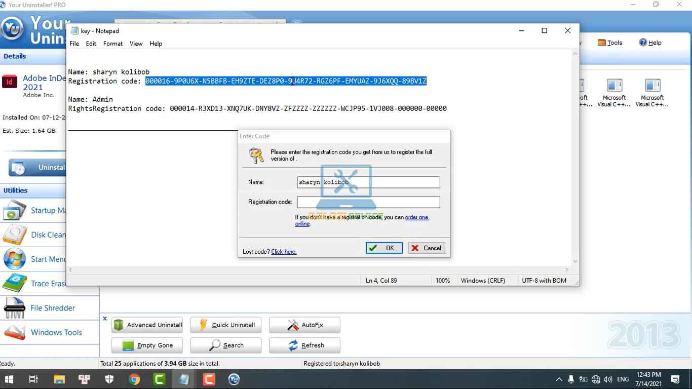 Nhập Key kích hoạt bản quyền Your Uninstaller 7.5 Full Crack